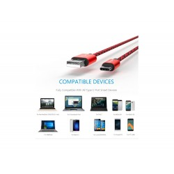 Cable USB Type C Rouge 1M
