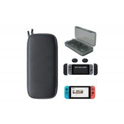 Housse protection 5 en 1 Switch + Verre trempé + protections manettes + boite jeux