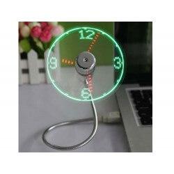 Ventilateur USB Horloge Avec Lumière LED Affichage Temps Réel Pour PC