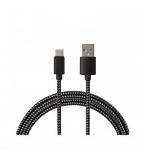 Cable USB Type C Tressé Noir 2.0M